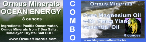 Combo Set Ormus Minerals Ocean Energy & PURE Magnesium Oil with Ylang Ylang Essential Oil 8 oz