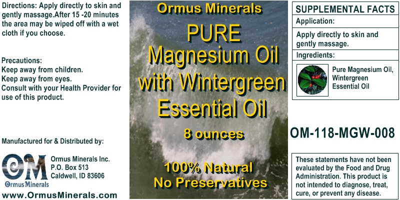 Ormus Minerals Pure Magnesium Oil with Wintergreen Essential Oil 8 OZ