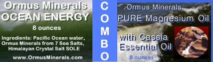 Combo Ormus Minerals Ocean Energy and PURE Magnesium Oil with Cassia Oil